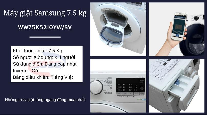 máy giặt samsung WW75K5210YW-SV