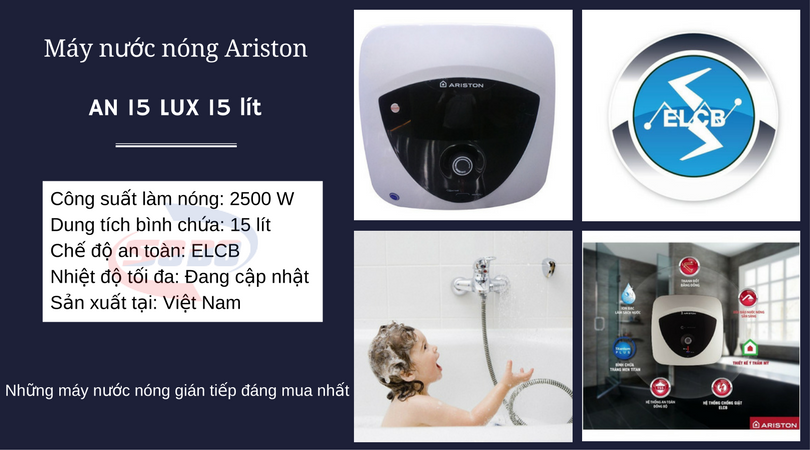 may nuoc nong ariston AN 15 LUX 15 lít