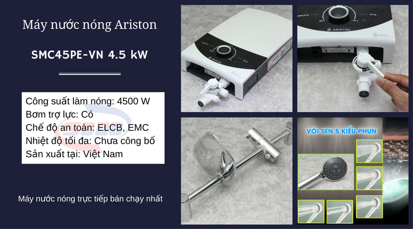 may nuoc nong ariston SMC45PE-VN 4.5 kW