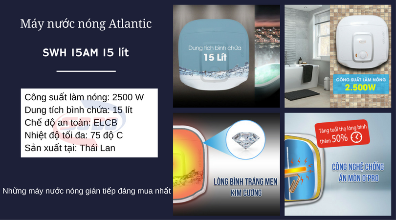 may nuoc nong atlantic SWH 15AM 15-lít