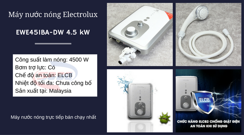 may nuoc nong electrolux EWE451BAD W 4,5 kW