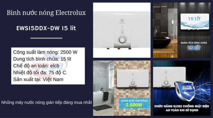 may nuoc nong electrolux EWS15DDX DW 15 lít